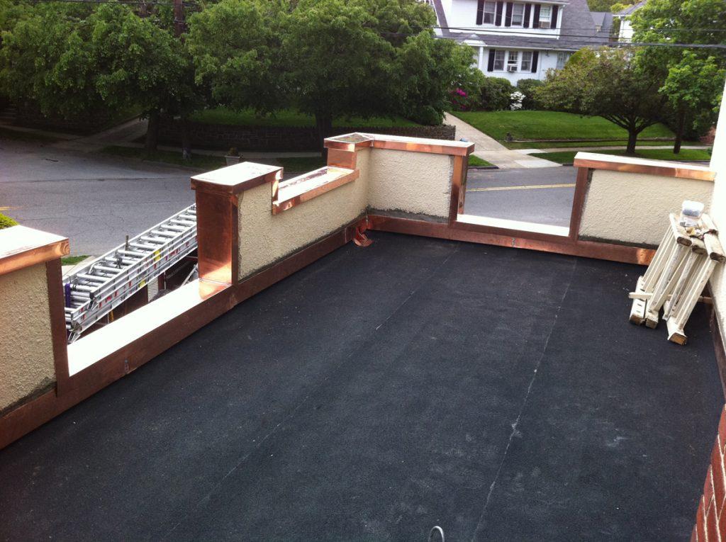 New Flat Roof – Copper Flashing – White Plains New York