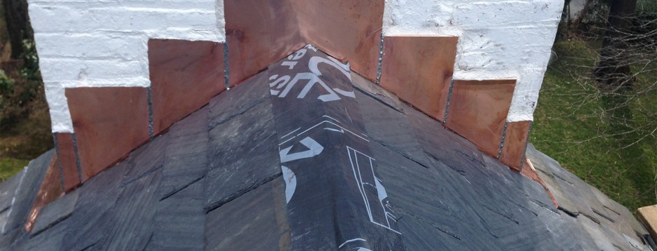Copper Chimney on a Slate Roof - Scarsdale NY
