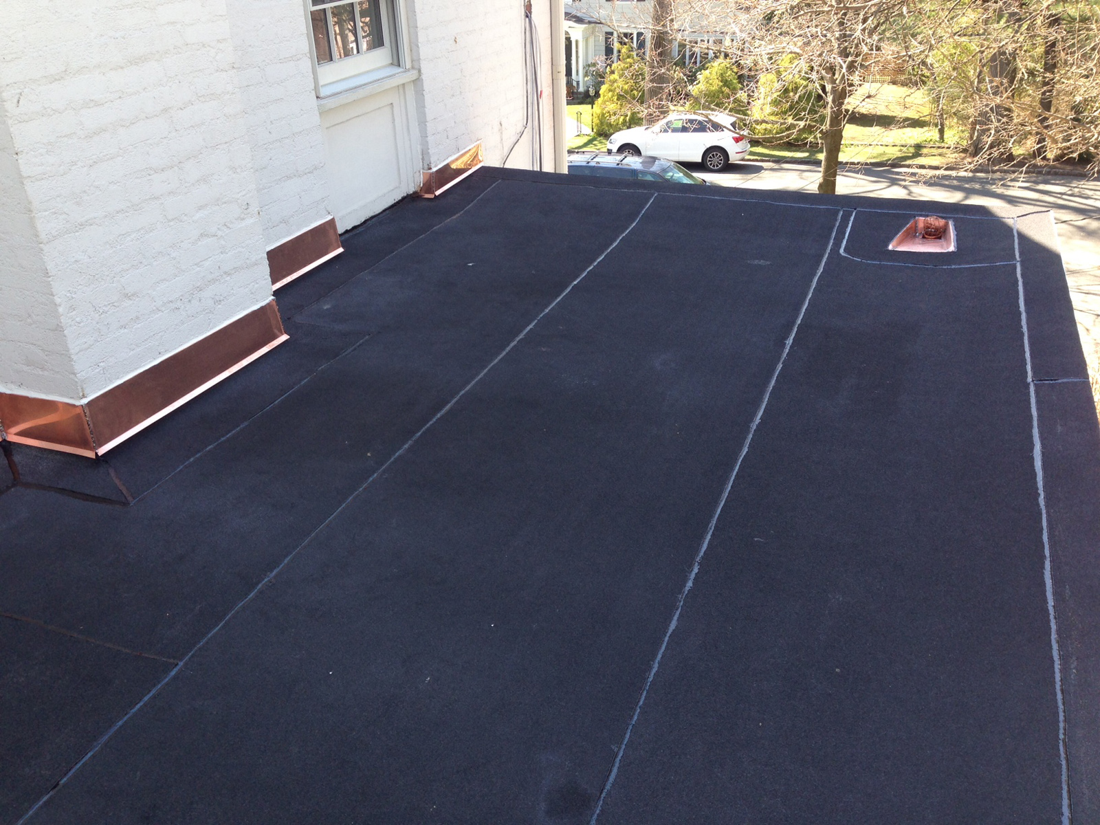 New Flat Roof With Copper Flashing   Bronxville NY